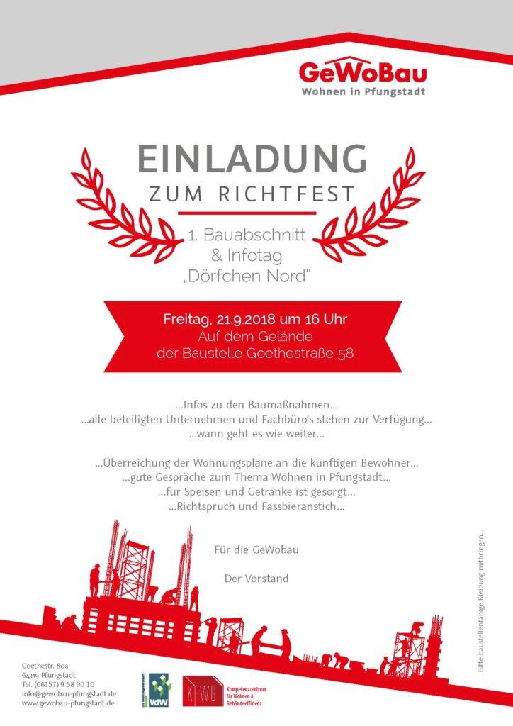 Relativ Einladung zum Richtfest am 21.09.18 um 16:00 Uhr - GeWoBau Pfungstadt KY15